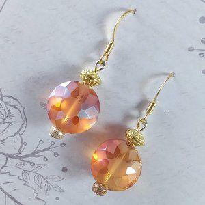 Orange Star Gold Earrings